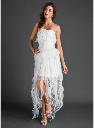 A-Linie/Princess-Linie Trägerlos Asymmetrisch Organza Spitze Festliche Kleid mit Perlen verziert