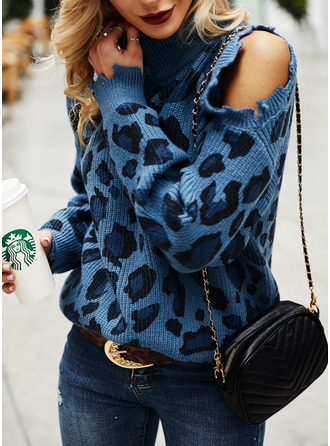 Cold Shoulder Turtleneck Casual Leopard Sweaters
