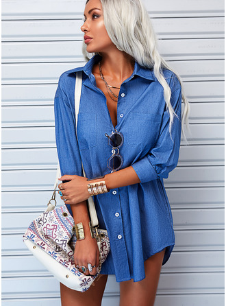 Solid Shift Long Sleeves Mini Denim Casual Shirt Dresses