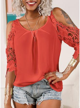 Lace Solid Cold Shoulder 3/4 Sleeves Casual Elegant