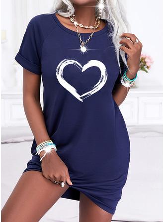 Print Heart Shift Short Sleeves Mini Casual T-shirt Dresses