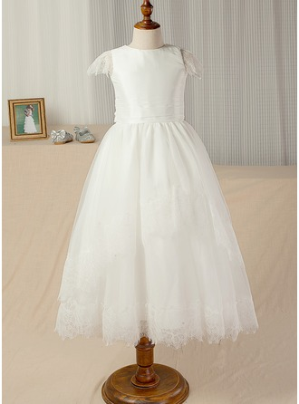 A-Line/Princess Ankle-length Flower Girl Dress - Taffeta/Lace Scoop Neck With Sash