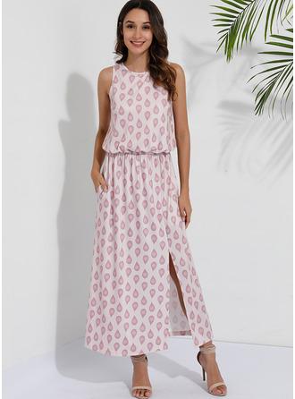 Nadruk Sukienka Trapezowa Bez Rękawów Maxi Nieformalny Modne Suknie