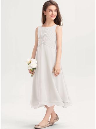 A-Linie U-Ausschnitt Wadenlang Chiffon Kleider für junge Brautjungfern mit Rüschen
