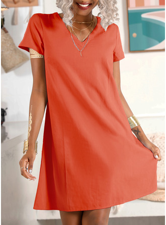 Solid Shift Short Sleeves Midi Casual Vacation T-shirt Tunic Dresses