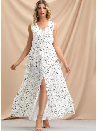 Трапеция V-образный Длина по щиколотку Вечерние Платье с Разрез спереди