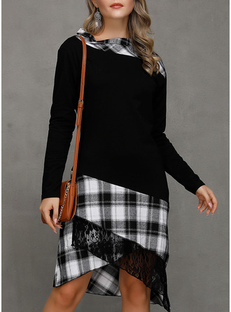 Плед A-линии Длинные рукова асимметричный Повседневная Модные платья