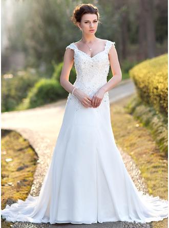 Forme Princesse Col V Traîne moyenne Mousseline Robe de mariée avec Dentelle Brodé Paillettes