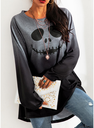 Print Gradient Halloween Round Neck Long Sleeves Sweatshirt