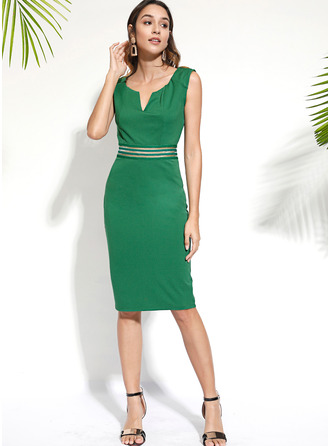 Striped Bodycon Sleeveless Midi Casual Pencil Dresses
