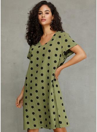 PolkaDot Shift Short Sleeves Midi Casual Tunic Dresses