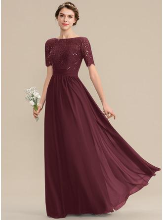 Corte A Decote redondo Longos Tecido de seda Renda Vestido de madrinha com lantejoulas