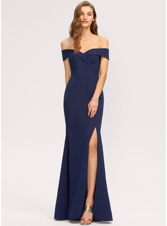 Off the Shoulder Dark Navy Stretch Crepe Dresses