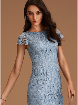 Round Neck Dusty Blue Lace Dresses