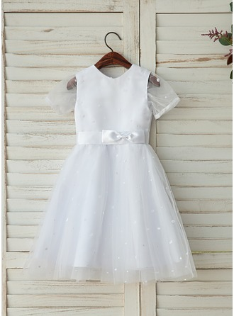 A-Line/Princess Tea-length Flower Girl Dress - Tulle Sleeveless Scoop Neck With Sash
