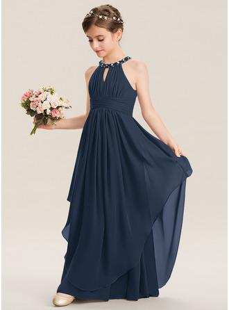 Çan Yuvarlak Yaka Uzun Etekli Şifon Küçük Nedime Elbisesi Ile Büzgü boncuklu kısım