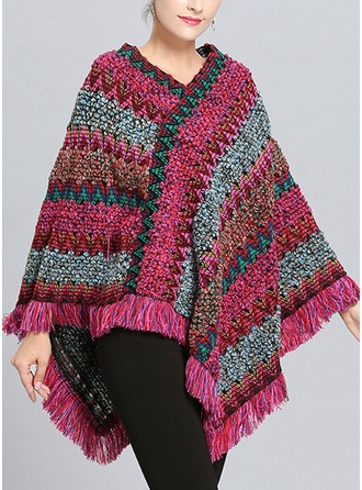 Striped Cold weather Wool Poncho