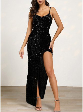 Sequins Sheath Sleeveless Maxi Little Black Party Type Dresses