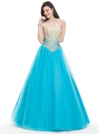 Ball-Gown Strapless Floor-Length Tulle Prom Dress With Beading Sequins