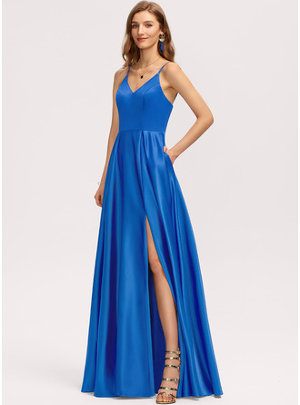 V-Neck Royal Blue Satin Dresses