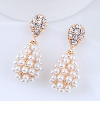Hermoso Aleación Diamantes de imitación La perla de faux con Rhinestone De mujer Pendientes de la manera