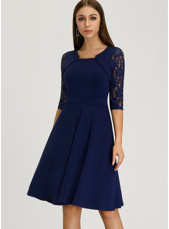A-Line Square Neckline Knee-Length Polyester Cocktail Dress With Lace