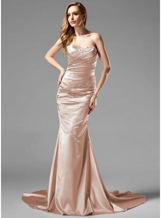 Trumpet/Mermaid Sweetheart Court Train Charmeuse Holiday Dress With Ruffle Beading