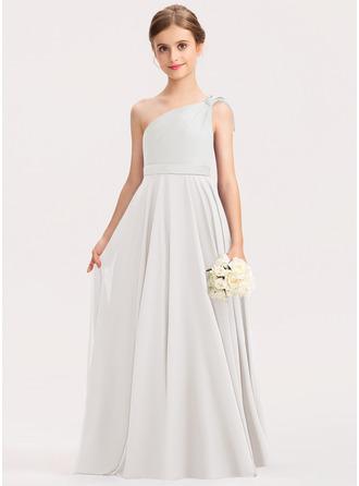 A-Linie Eine Schulter Bodenlang Chiffon Charmeuse Kleid für junge Brautjungfern mit Rüschen