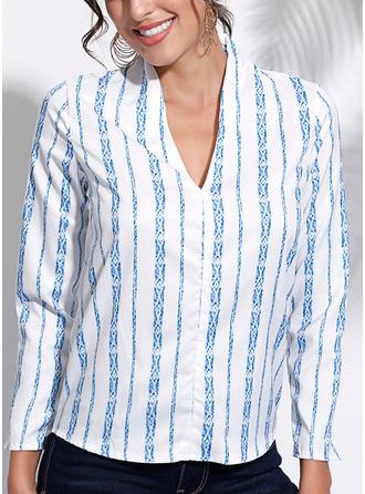 Striped V-Neck Long Sleeves Casual Elegant