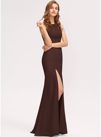 Sheath/Column Scoop Neck Floor-Length Chiffon Bridesmaid Dress With Split Front