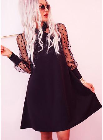 PolkaDot Solid Shiftklänningar Långa ärmar Mini Den lilla svarta Elegant Tunika Modeklänningar