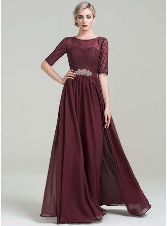 Vestidos princesa/ Formato A Decote redondo Longos tecido de seda Vestido para a mãe da noiva com Beading lantejoulas