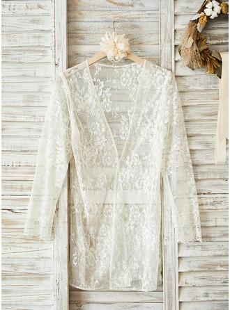 Bride Lace With Knee-Length Satin & Lace Robes
