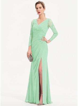 Sheath/Column V-neck Floor-Length Chiffon Evening Dress With Split Front