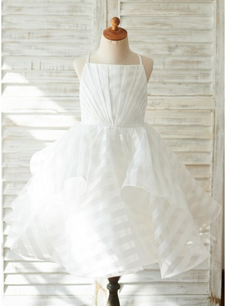 A-Line Knee-length Flower Girl Dress - Organza/Tulle Sleeveless Straps With Pleated