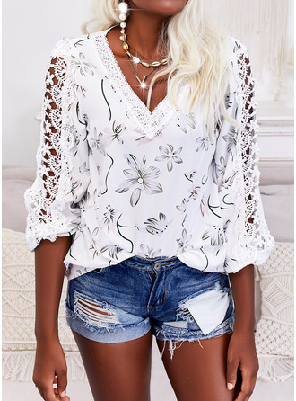 Floral Print V-Neck 3/4 Sleeves Casual