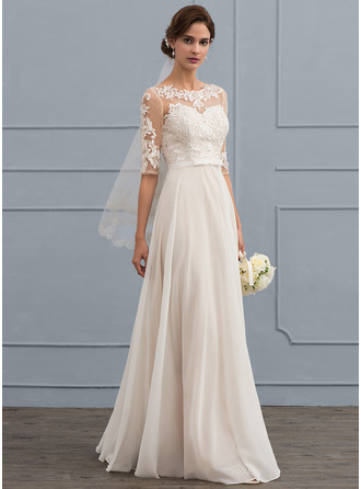 A-Line Illusion Floor-Length Chiffon Wedding Dress With Beading Sequins Bow(s)