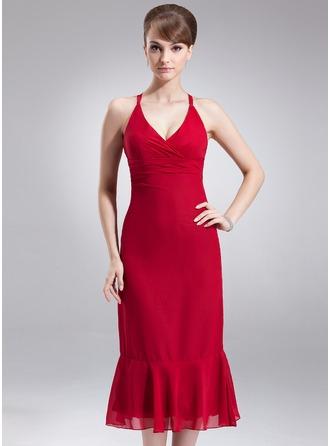 С завышенной талией V-образный Длина ниже колен шифон Платье Подружки Невесты с Рябь Бант(ы)