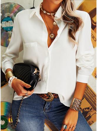 Einfarbig V-Ausschnitt Lange Ärmel Mit Knöpfen Lässige Kleidung Hemd Blusen