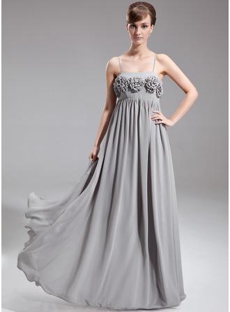 Empire Floor-Length Chiffon Chiffon Maternity Bridesmaid Dress With Flower(s)