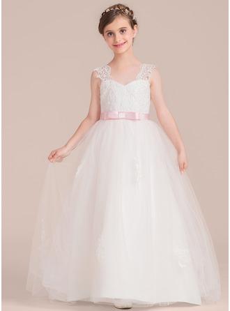 Schatz Bodenlang Tüll Kleid für junge Brautjungfern mit Schleifenbänder/Stoffgürtel Schleife(n)