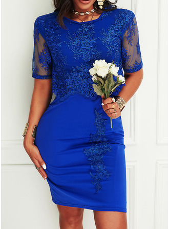 Lace Solid Sheath 3/4 Sleeves Midi Casual Elegant Dresses