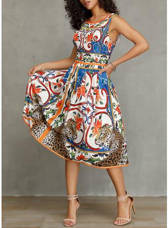 Распечатать A-линии безрукавный миди Повседневная элегантный Конькобежец Модные платья