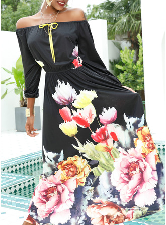 Maxi Off the Shoulder Polyester Print 1/2 Sleeves Fashion Dresses