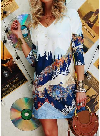 Print Shiftklänningar 3/4 ärmar Mini Fritids Tunika Modeklänningar