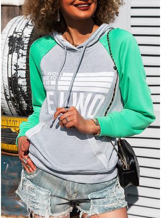 Renkli klişe Imprimeu Figür Mâneci Lungi Kapüşonlu svetşört