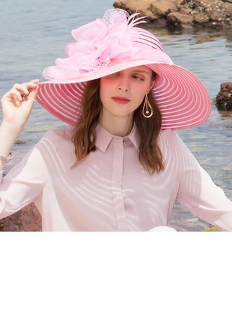 Señoras' Estilo clásico/Elegante/Único Papiro/Tul Disquete Sombrero/Derby Kentucky Sombreros/Sombreros Tea Party