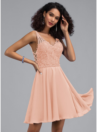 A-Line V-neck Short/Mini Chiffon Homecoming Dress With Beading Sequins