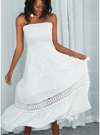 Lace Solid A-line Sleeveless Maxi Casual Skater Dresses