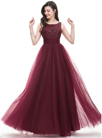 A-Line/Princess Square Neckline Floor-Length Tulle Prom Dress With Ruffle Sequins Bow(s)